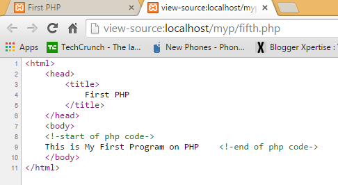PHP code is hidden