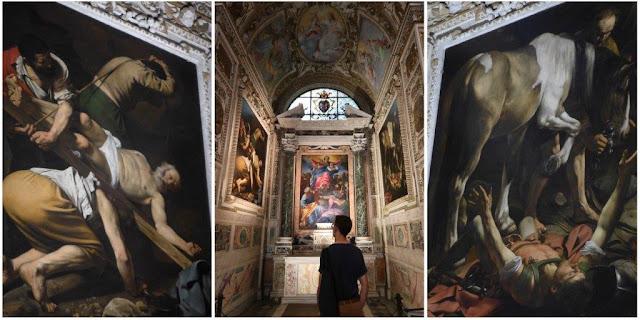 Cuadros Crucifixión de San Pedro y Conversión de San Pablo de Caravaggio en la iglesia de  Santa Maria del Popolo en Roma