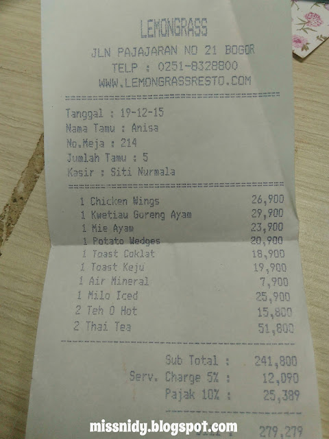 damage cost at lemongrass resto bogor