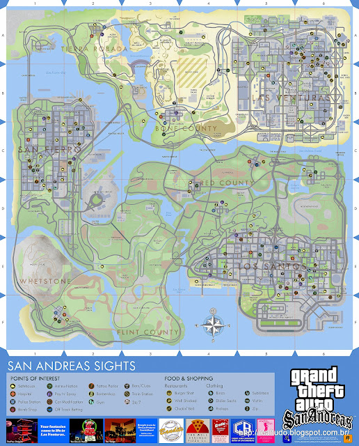 GTA SAN ANDREAS PS3 MAP - GRAND THEFT AUTO SAN ANDREAS MAP MAPA