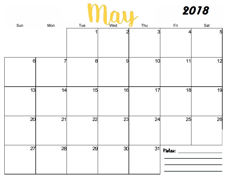 May  Printable Calendar Templates