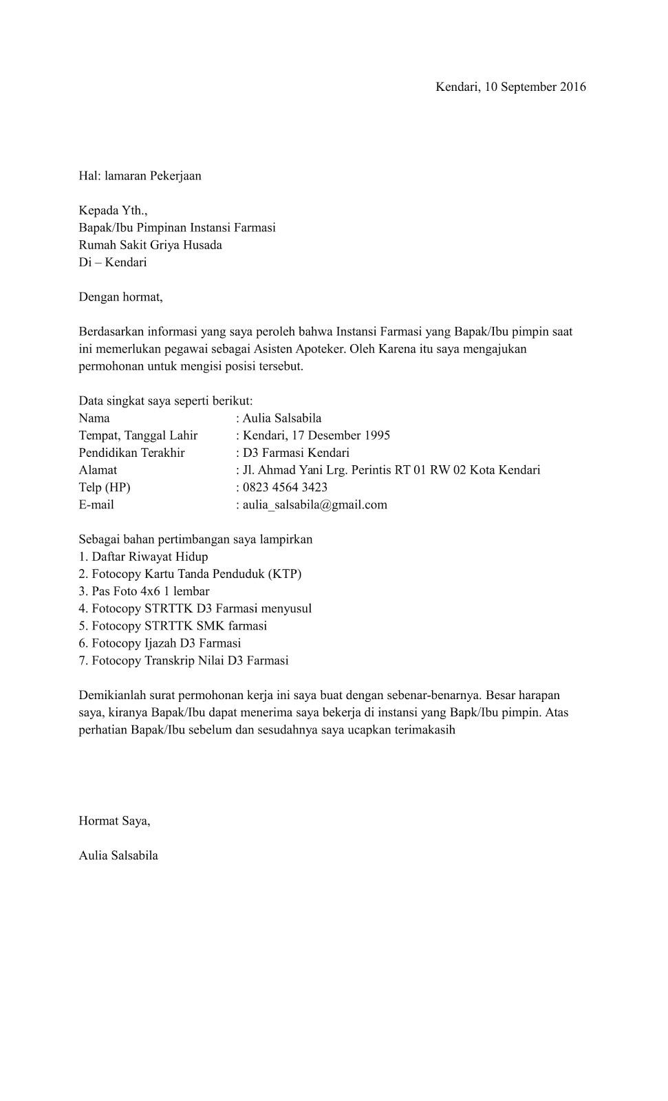 Contoh Surat Lamaran Kerja Di Apotek Tulis Tangan
