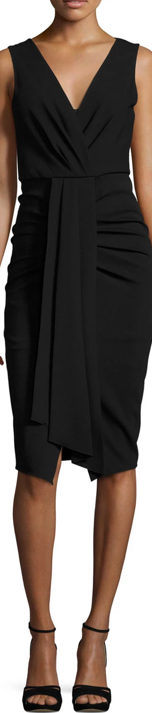 Kobi Halperin Sleeveless Draped Stretch Crepe Sheath Dress