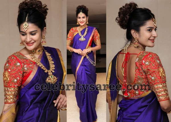 Jenny Honey Purple Silk Saree