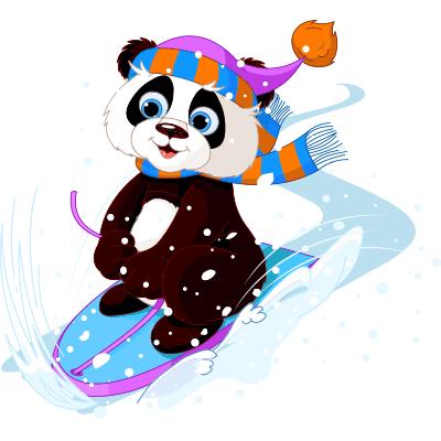 Panda on Skis