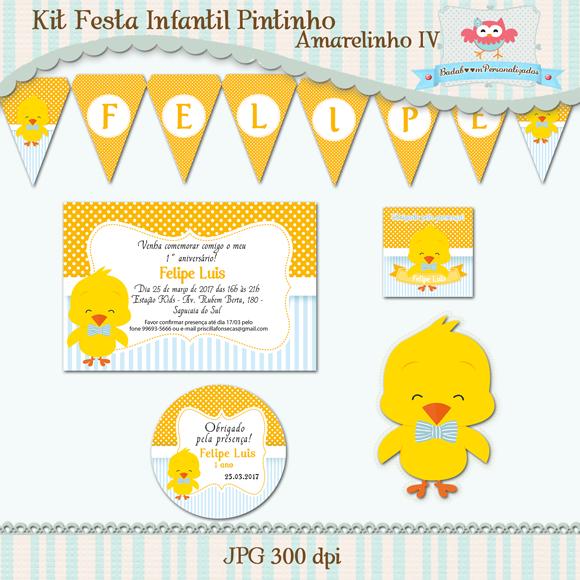 Kit de artes digitais para festa infantil pintinho amarelinho