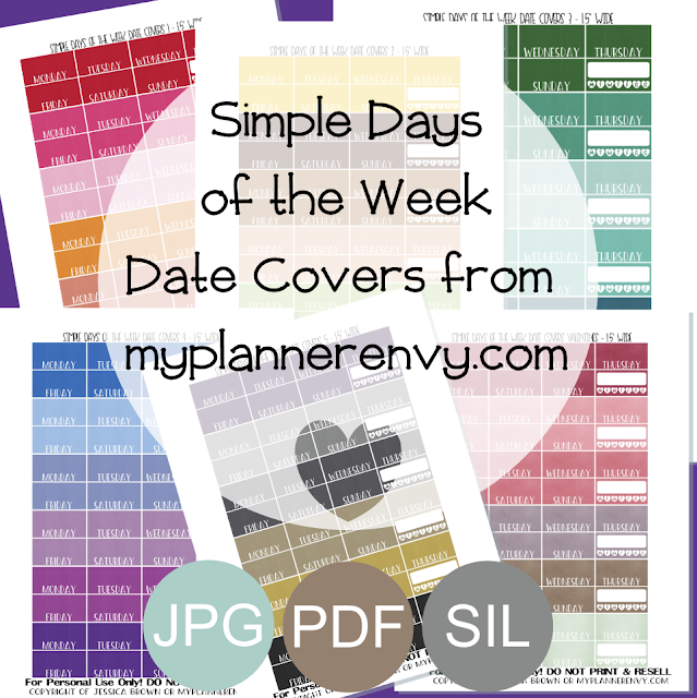 Free Printable Updated Simple Days of the Week Date Covers for the Vertical Erin Condren, Recollections Creative Year, and Classic Happy Planners from myplannerenvy.com