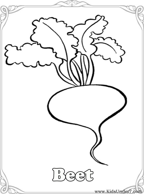 Kids Under 7: Vegetables Coloring Pages
