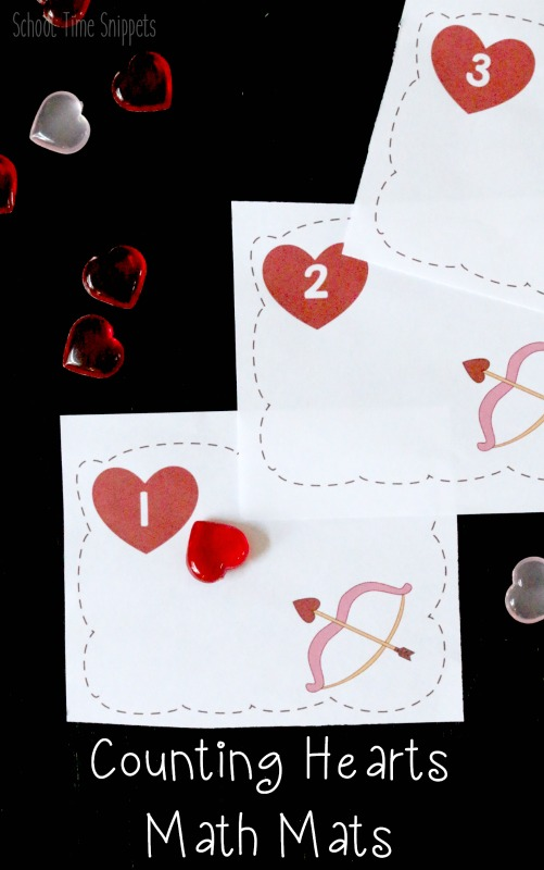 Valentine's Day Preschool Counting Math Mats