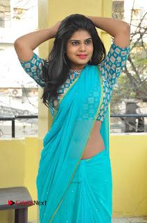 Telugu Actress Alekhya Stills in Green Saree at Swachh Hyderabad Cricket Press Meet  0030.JPG