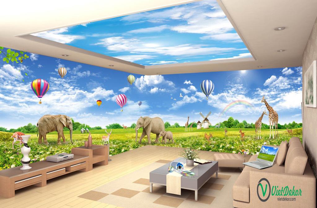 Tranh dán tường 3d phong cảnh những chú voi và hươu con