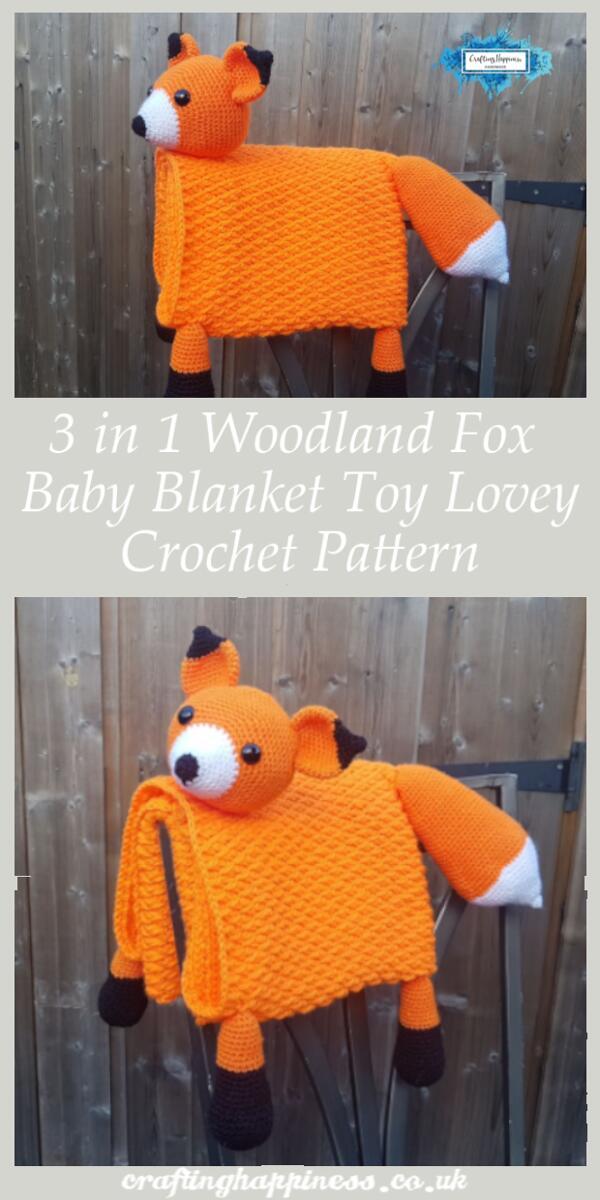 Crochet Pattern: 3 in 1 Woodland Fox Baby Blanket Toy Lovey