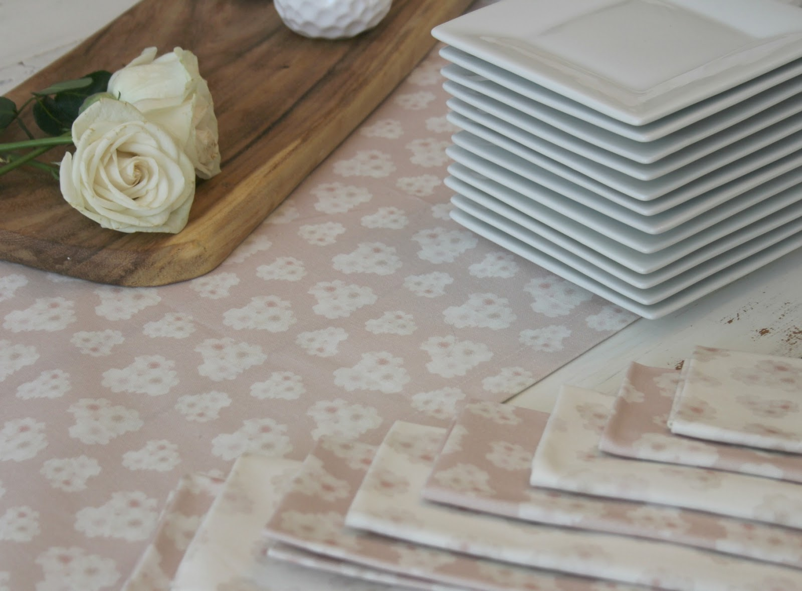Minted table runner and napkins in blush pink with peonies - Hello Lovely Studio
