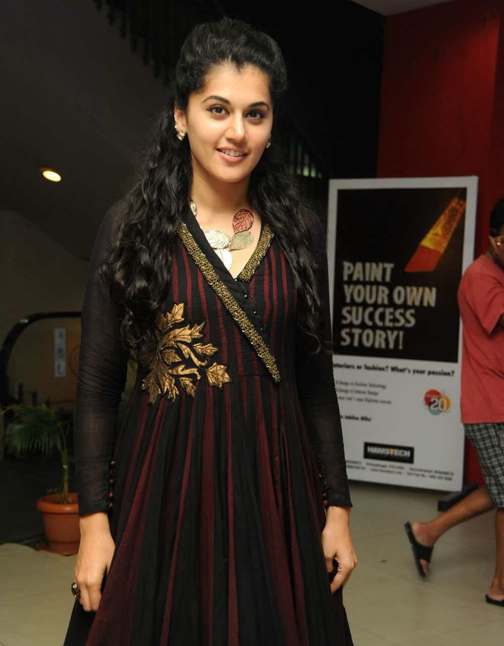Taapsee Pannu Smiling Photos In Maroon Dress