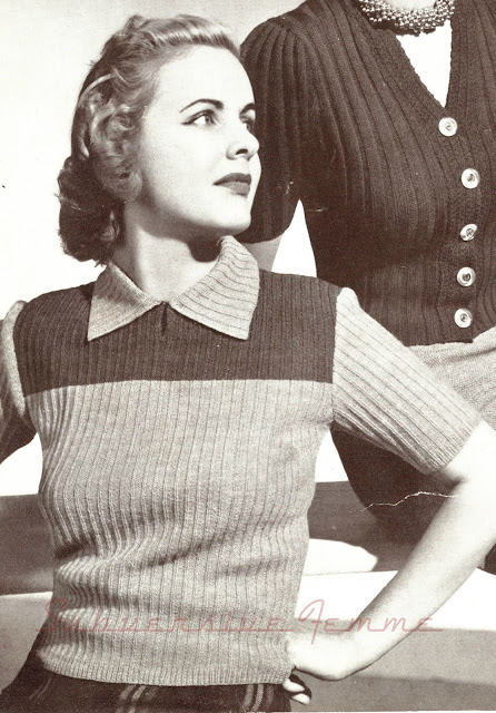 The Vintage Pattern Files: Free 1940's Knitting Pattern - Prelude Yoked Jumper
