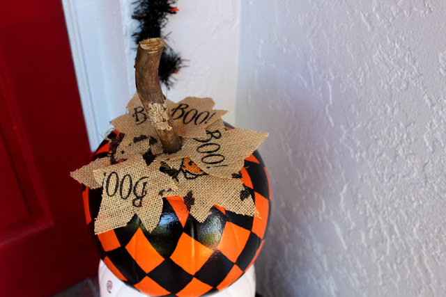 Eclectic Red Barn:  Top stacked pumpkin with stick and leaf letters