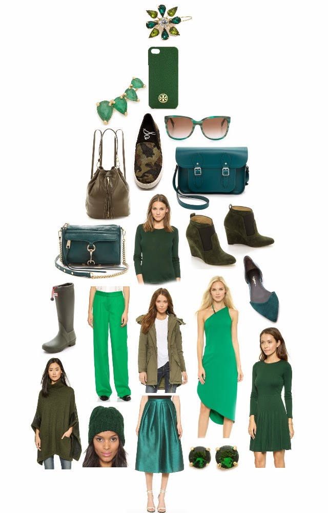 Green clothing jewelry shoes and accessories for the Holidays