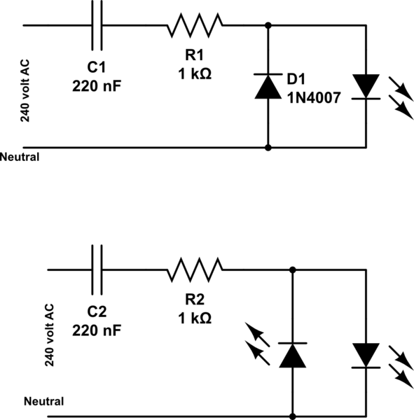 ac capacitor led circuit