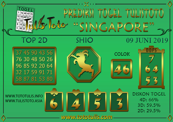 Prediksi Togel SINGAPORE TULISTOTO 09 JUNI 2019