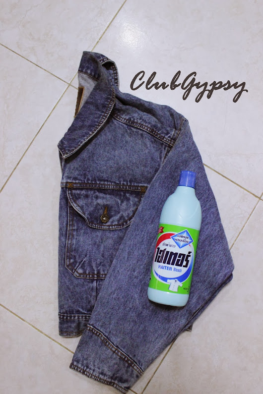 #DIY cropped jeans jacket (acid wash)