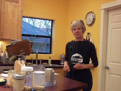 "Mary Shaw at counter during ""Pantry Basics"" class at Ashland Food Co-op"