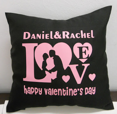 Black Cushion with Valentine's Day message print on.