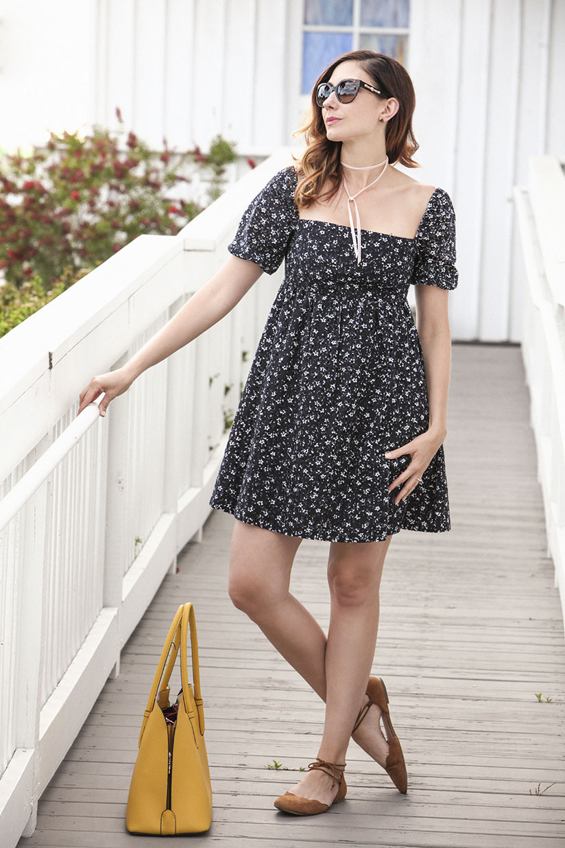 Amy West in an eyelet dress from Anthropologie