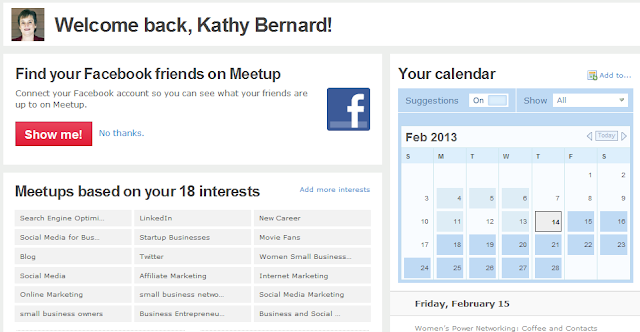 Meetup, Meetup options, Meetups based on your interests,