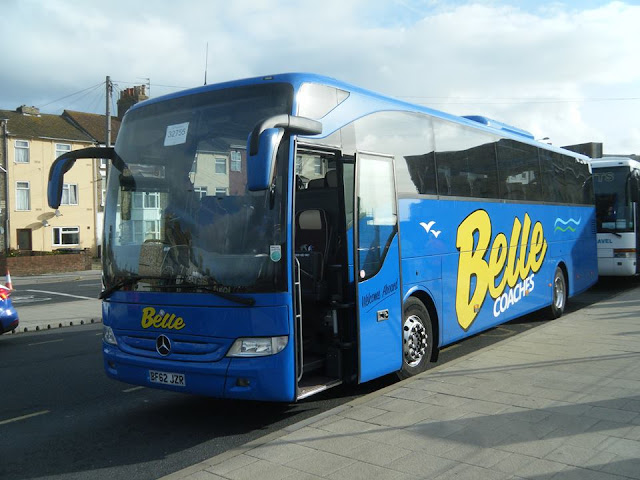 Belle Coaches' Mercedes Benz Tourismo BF62JZR on stand by duty at Lowestoft Station