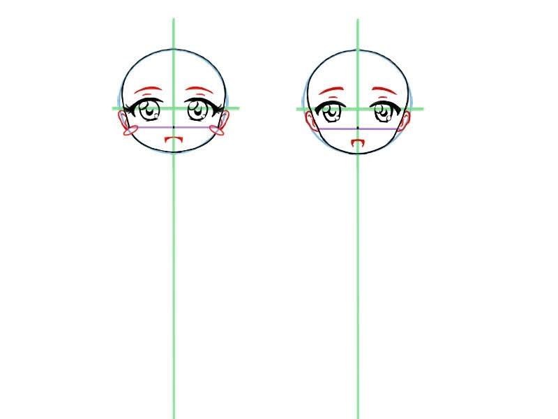 Etape quatre pour dessiner le visage d'un chibi: dessiner les oreilles, la bouche, le nez etc...