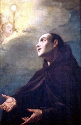 En la imagen San Pascual Bailon suplicando a Dios.