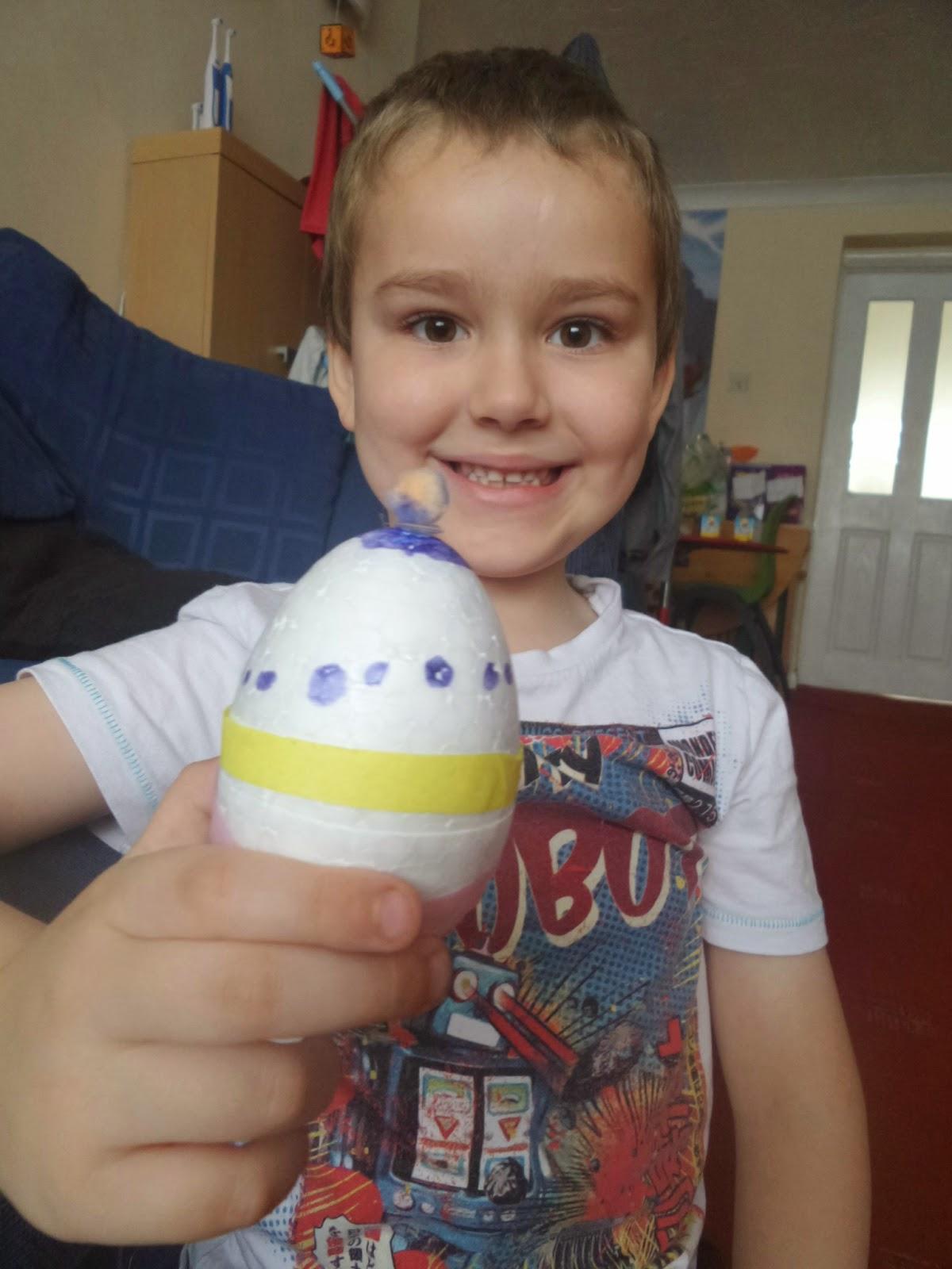 BB Decoupaging an egg