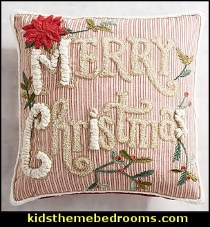 Merry Christmas Striped Pillow  Christmas decorating ideas - Christmas decor - Christmas decorations - Christmas kitchen decor - santa belly pillows - Santa Suit Duvet covers - Christmas bedding - Christmas pillows - Christmas  bedroom decor  - winter decorating ideas - winter wonderland decorating - Christmas Stockings Holiday decor Santa Claus - decorating for Christmas - 3d Christmas cards - xmas tree decor