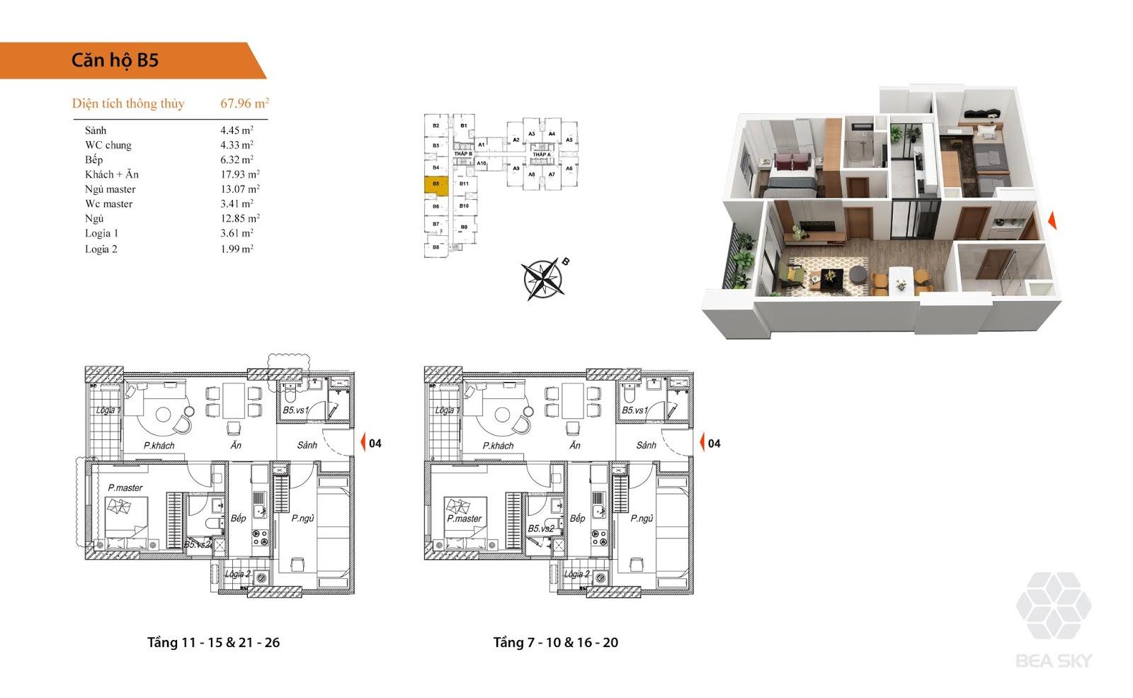 Thiết kế căn B5 chung cư Bea sky nguyễn xiển