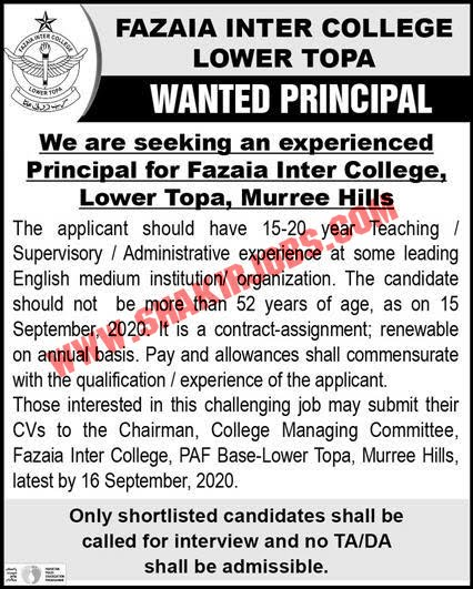 Jobs in Fazaia Inter College Lower Topa Jobs September 2020