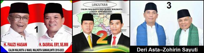 Dua pasang calon walikota dan wakil walikota Kota Sawahlunto 2018