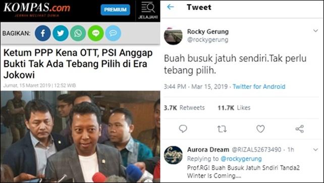 Rezim Jokowi Diklaim Tak Tebang Pilih, RG: Buah Busuk Jatuh Sendiri, Tak Perlu Tebang Pilih