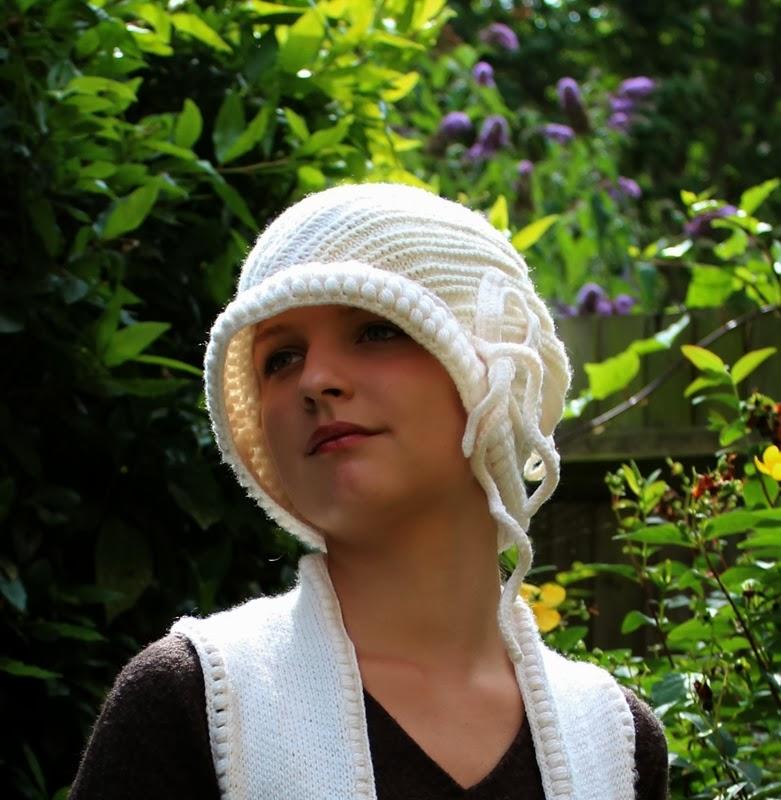 czapka stylizowana na lata 20te dziana na drutach