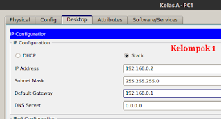 gambar 4 melakukan konfigurasi ip address di pc 1