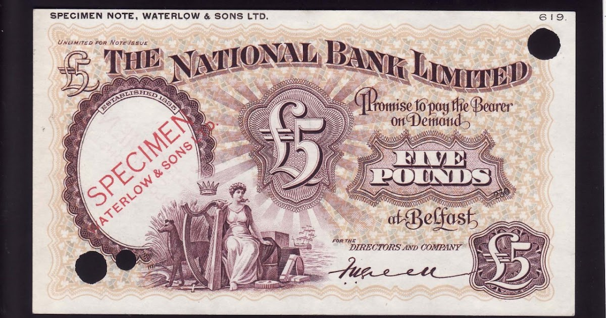 Northern Ireland Five Pounds Banknote National Bank