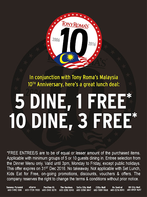 Tony Roma's Free Entree with Lunch Until 31 December 2016