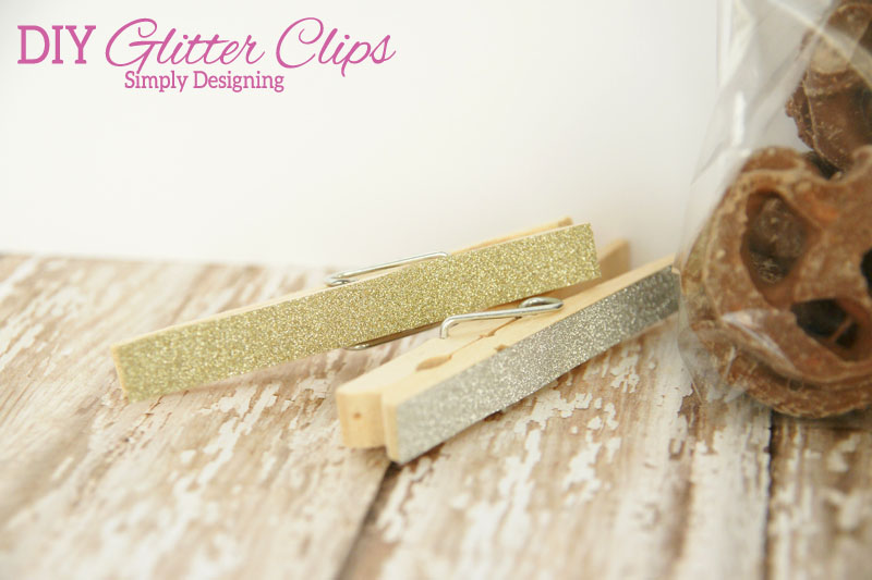 DIY Glitter Clips | these really cute chip clips or magnetic clips are so simple to make and so cheap! I love them! | #crafts #glitter #organization #kichen