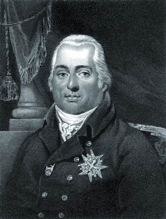 Luis XVIII, grabado punteado.