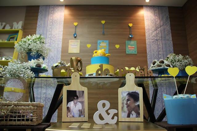 chá bar, chá de panela, azul e amarelo, decoração