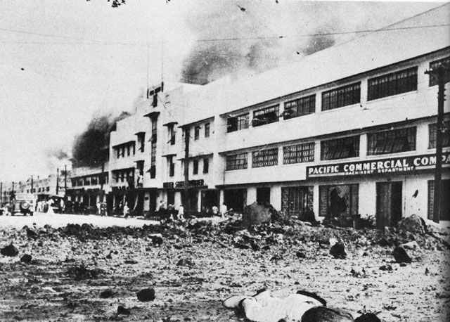 Bomb damage in Manila, 24 December 1941 worldwartwo.filminspector.com