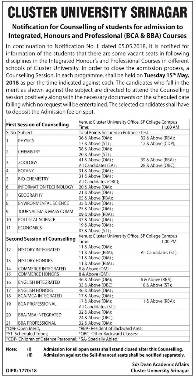 Cluster University of Kashmir – Notification for Counselling of Students for Admission to Integrated Courses