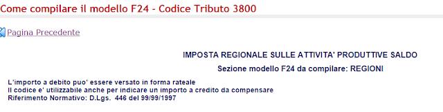 Significato codice tributo 3800