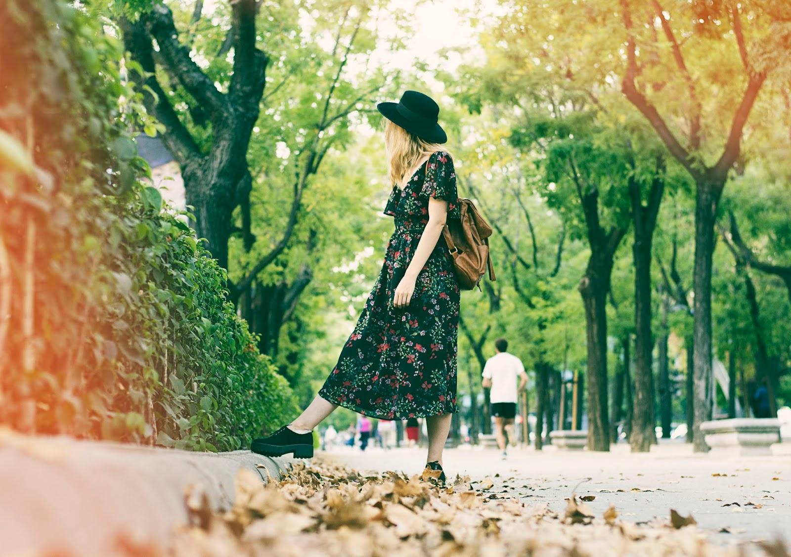 vestido de flores otoño