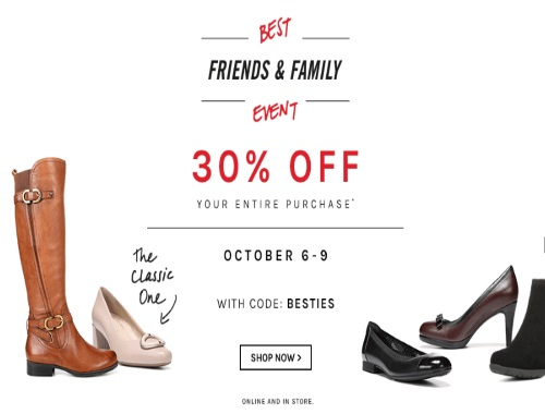 Naturalizer Best Friends and Family Sale Promo Code