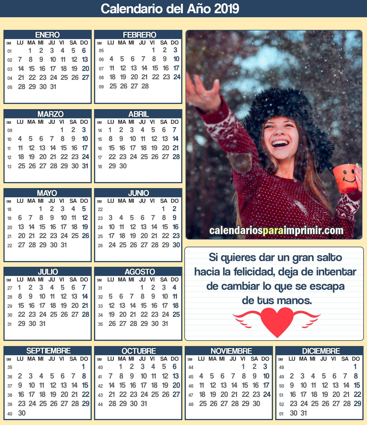 calendario de felicidad para imprimir 2019